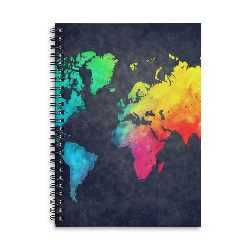 world map colors 27 Accessories Lined Spiral Notebook by jbjart Artist Shop