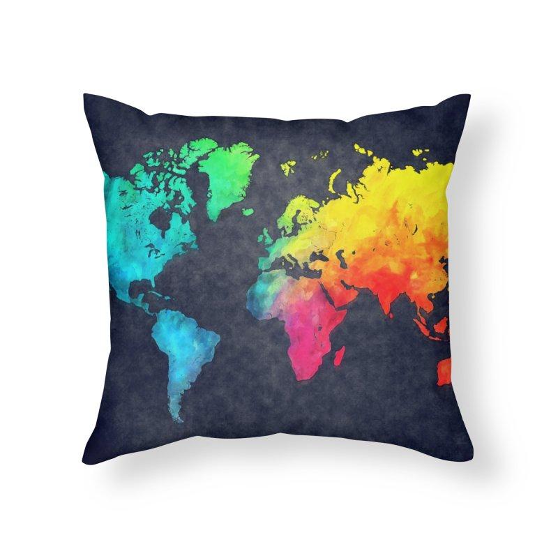 world map colors 27 Home Throw Pillow by jbjart Artist Shop