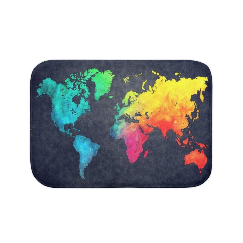 world map colors 27 Home Bath Mat by jbjart Artist Shop