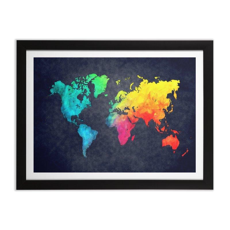 world map colors 27 Home Framed Fine Art Print by jbjart Artist Shop