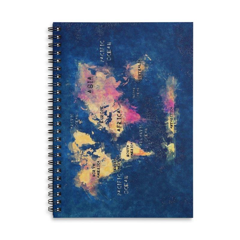 world map blue 28 Accessories Lined Spiral Notebook by jbjart Artist Shop