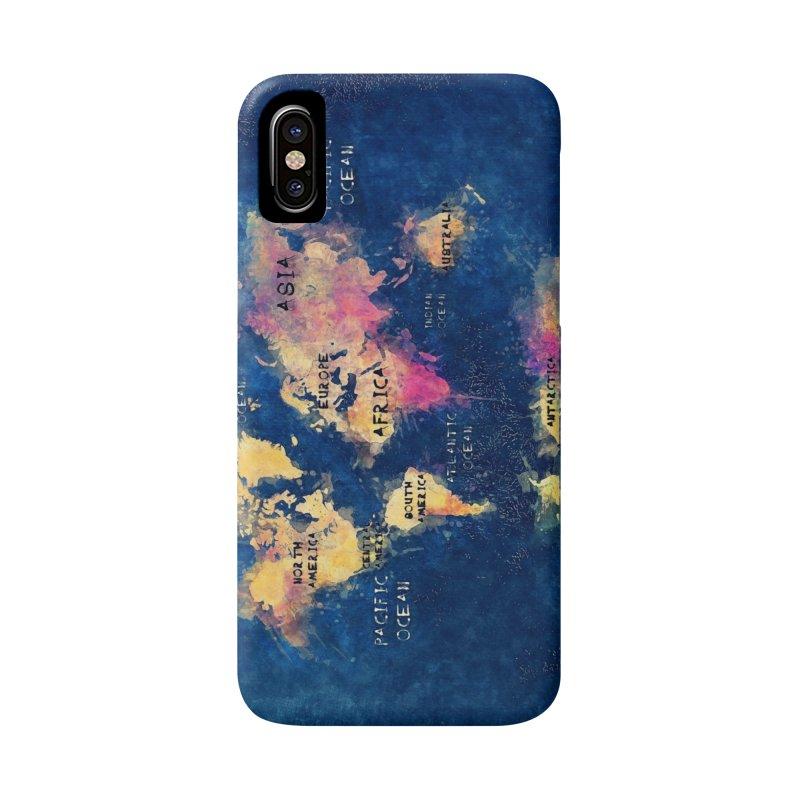 world map blue 28 Accessories Phone Case by jbjart Artist Shop