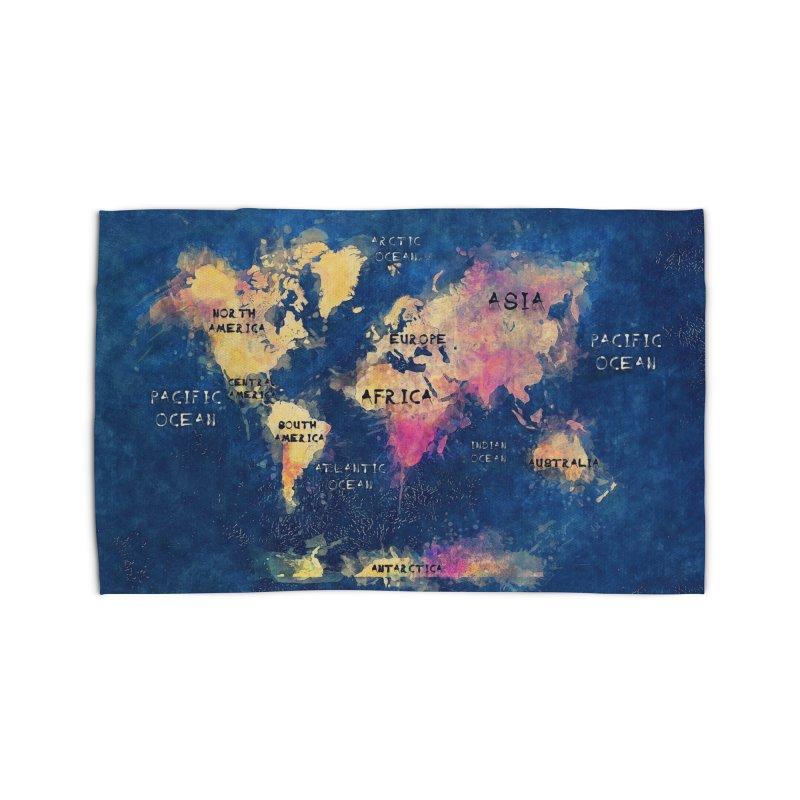 world map blue 28 Home Rug by jbjart Artist Shop