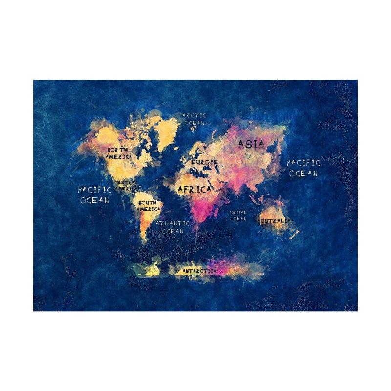 world map blue 28 Home Fine Art Print by jbjart Artist Shop
