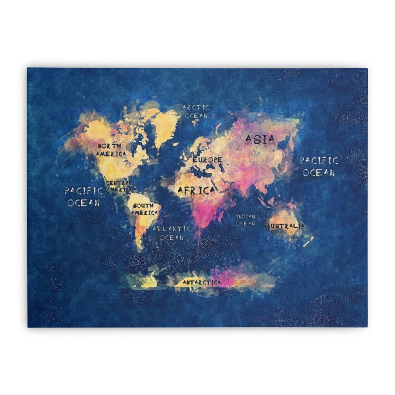 world map blue 28 Home Stretched Canvas by jbjart Artist Shop