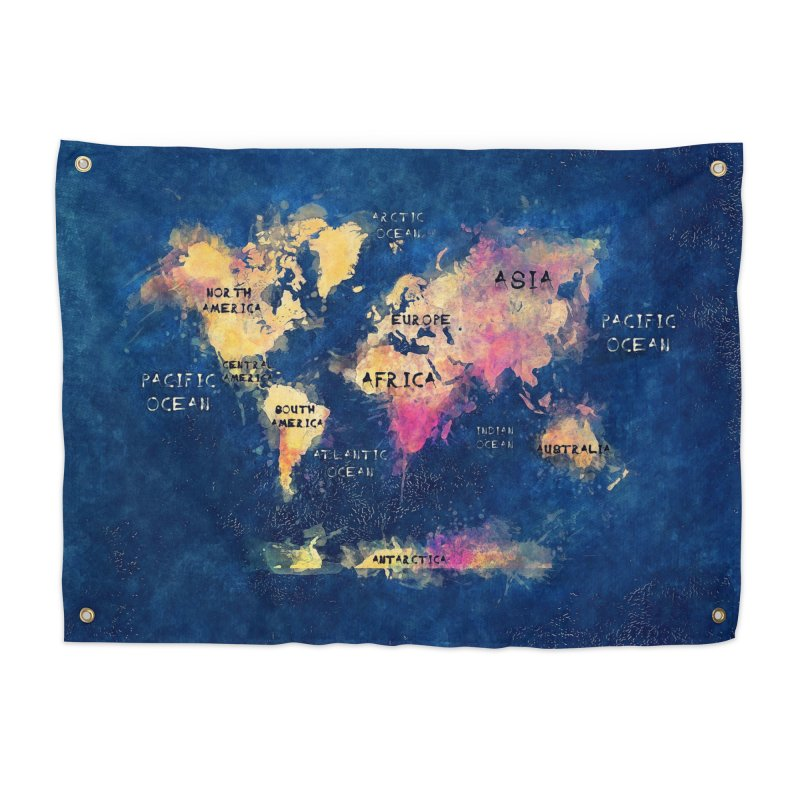 world map blue 28 in Tapestry by jbjart Artist Shop