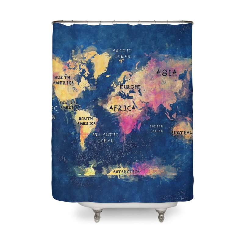 world map blue 28 Home Shower Curtain by jbjart Artist Shop
