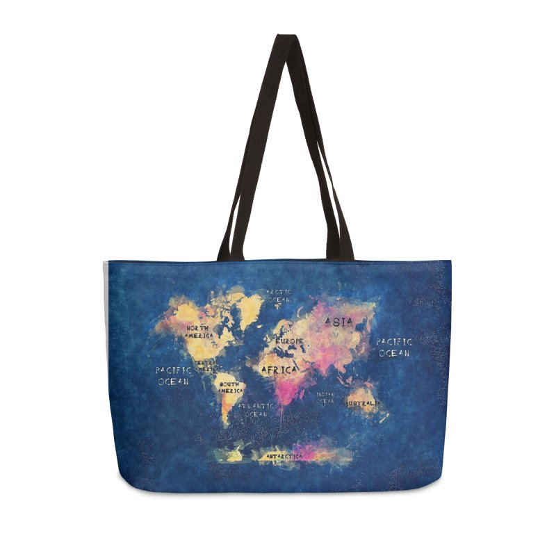 world map blue 28 Accessories Weekender Bag Bag by jbjart Artist Shop