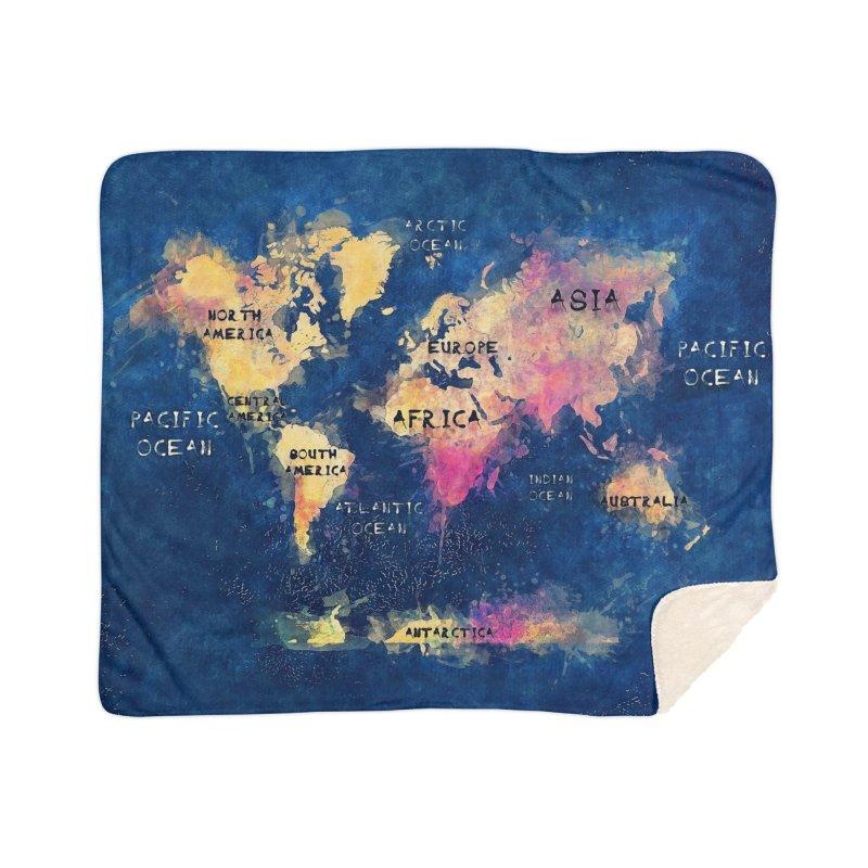 world map blue 28 Home Sherpa Blanket Blanket by jbjart Artist Shop