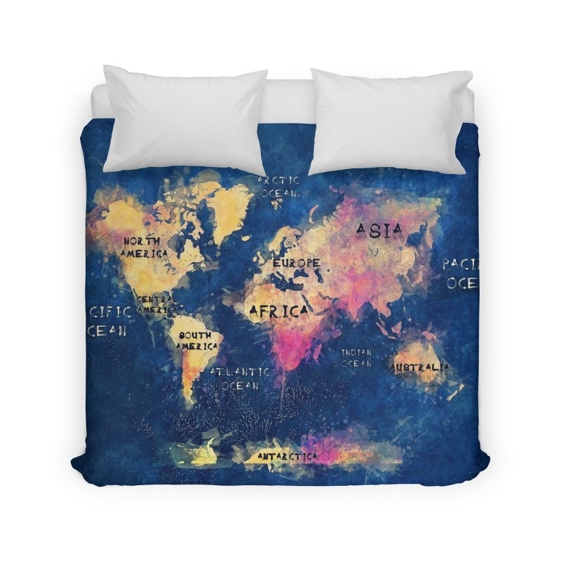 world map blue 28 Home Duvet by jbjart Artist Shop