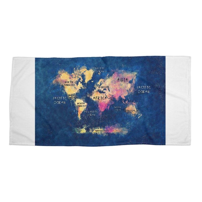 world map blue 28 Accessories Beach Towel by jbjart Artist Shop