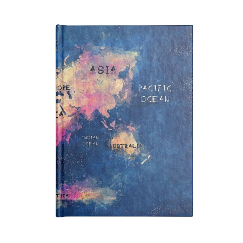 world map blue 28 Accessories Lined Journal Notebook by jbjart Artist Shop