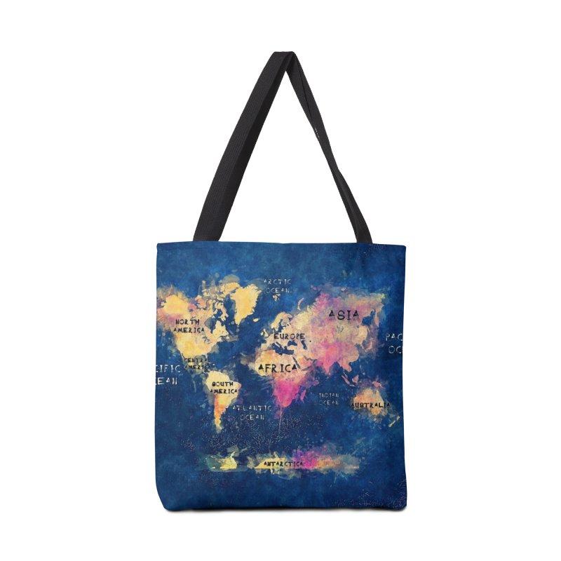 world map blue 28 Accessories Tote Bag Bag by jbjart Artist Shop