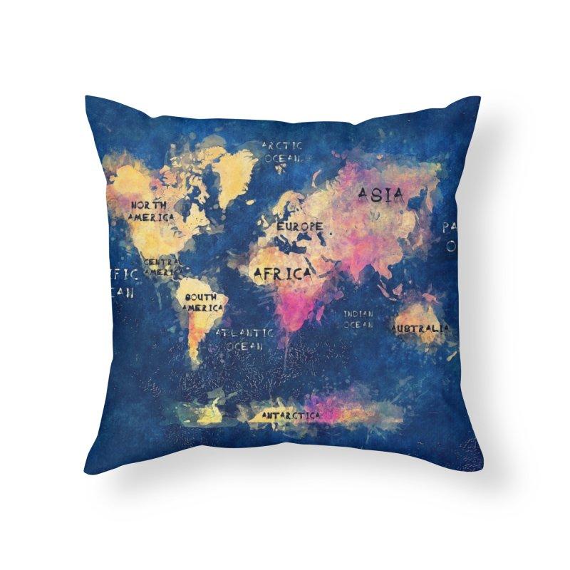 world map blue 28 Home Throw Pillow by jbjart Artist Shop