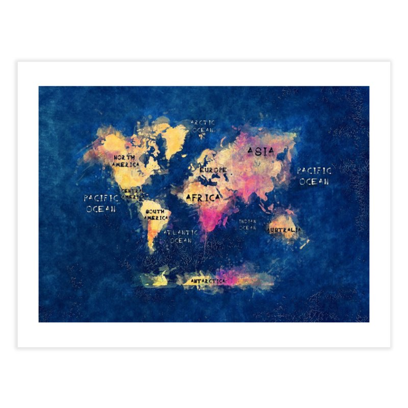 world map blue 28 Home Fine Art Print by jbjart Artist Shop