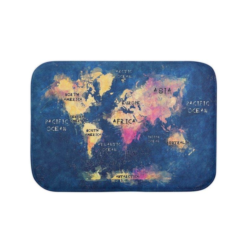 world map blue 28 Home Bath Mat by jbjart Artist Shop