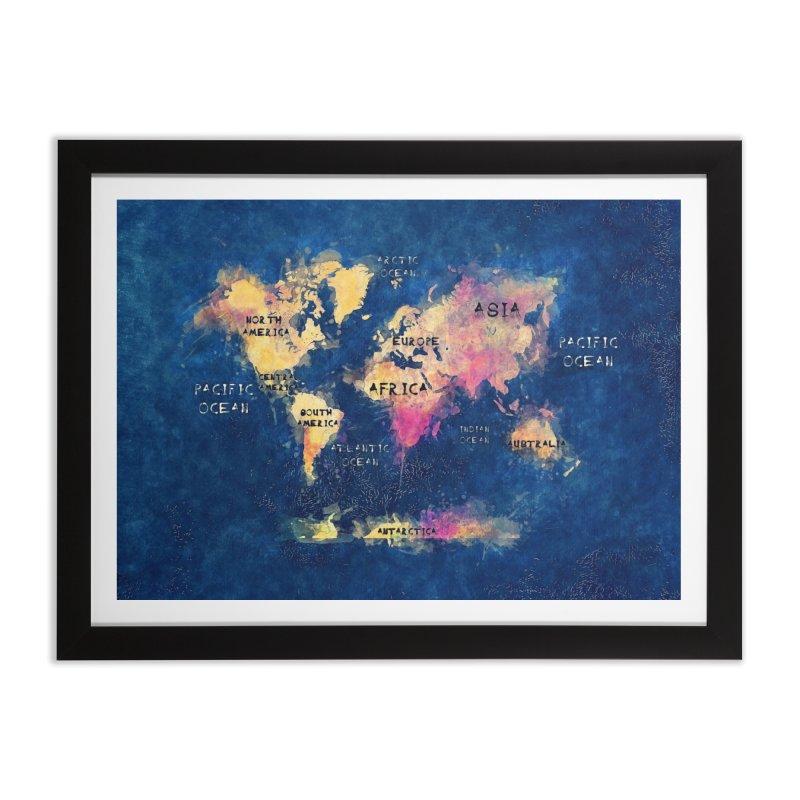 world map blue 28 Home Framed Fine Art Print by jbjart Artist Shop