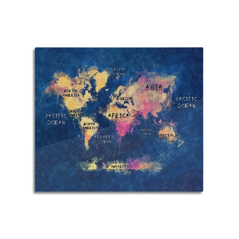 world map blue 28 Home Mounted Acrylic Print by jbjart Artist Shop