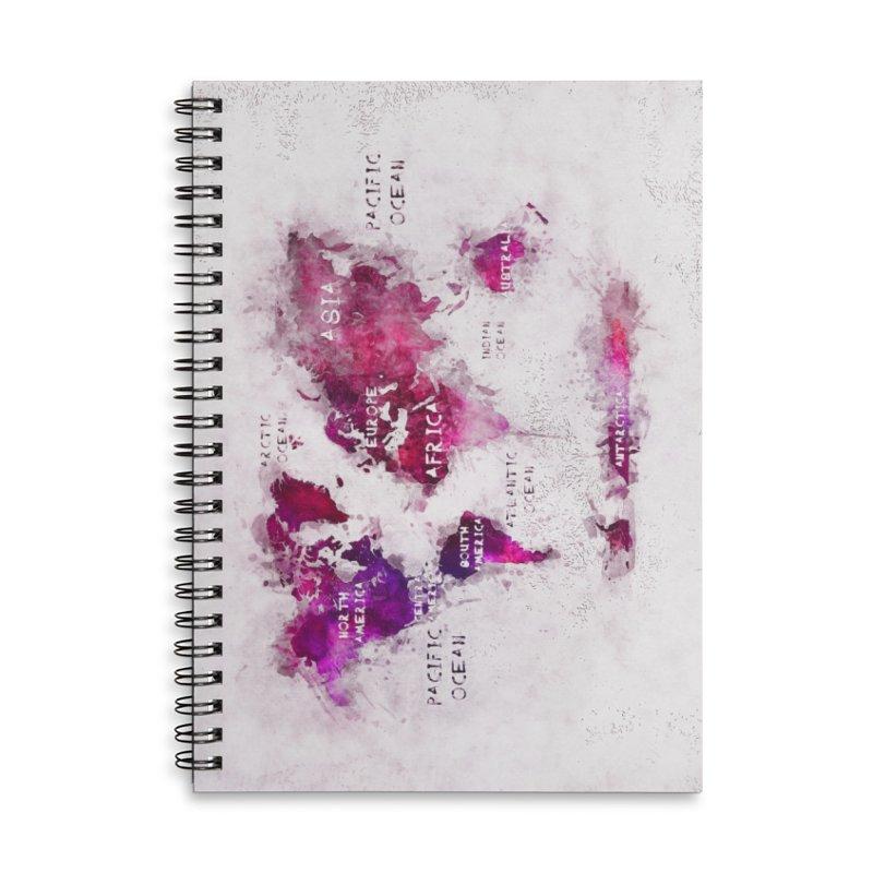 world map white 29  Accessories Lined Spiral Notebook by jbjart Artist Shop