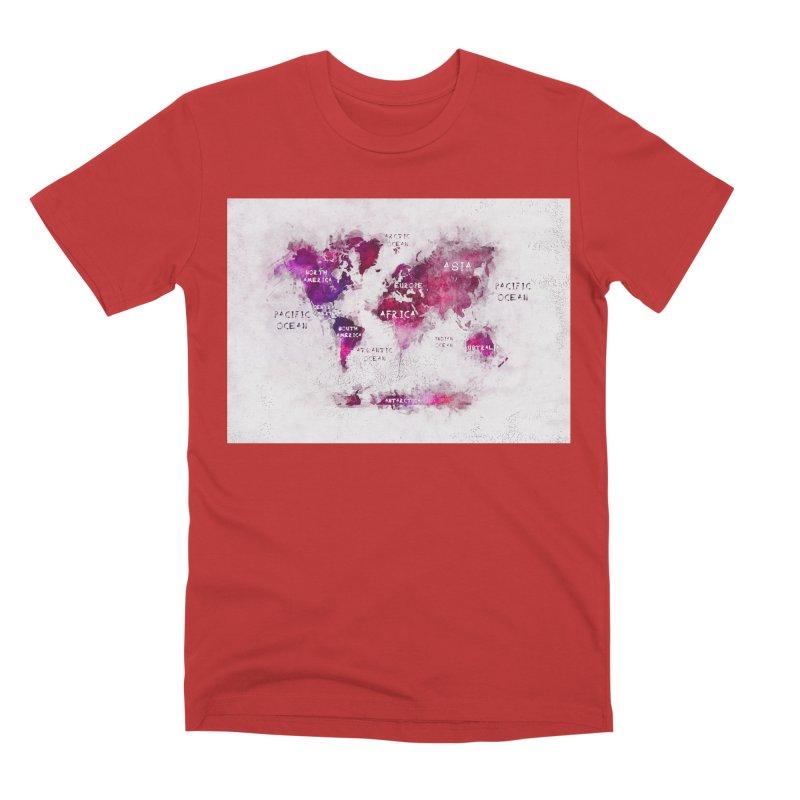 world map white 29  Men's Premium T-Shirt by jbjart Artist Shop