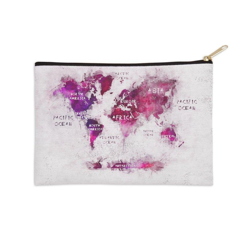world map white 29  Accessories Zip Pouch by jbjart Artist Shop