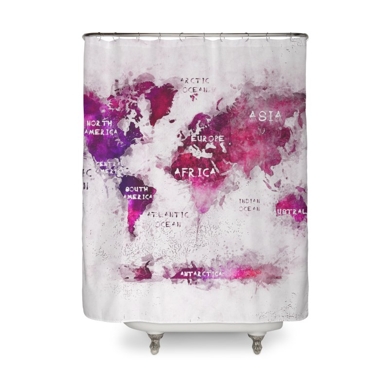 world map white 29  Home Shower Curtain by jbjart Artist Shop