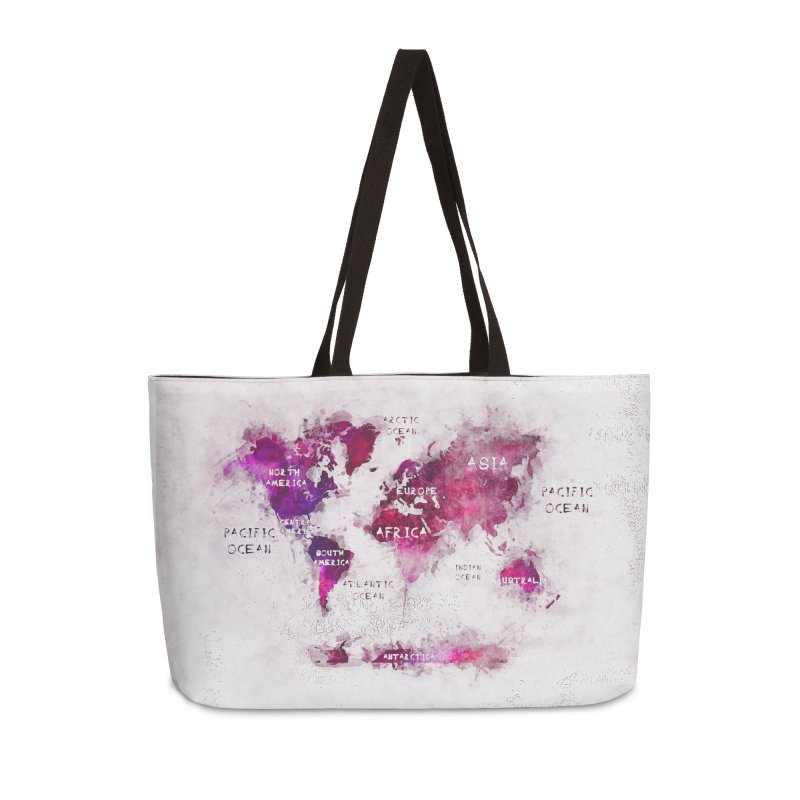 world map white 29  Accessories Weekender Bag Bag by jbjart Artist Shop