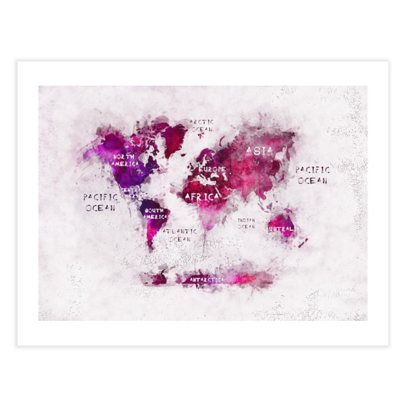 world map white 29  Home Fine Art Print by jbjart Artist Shop