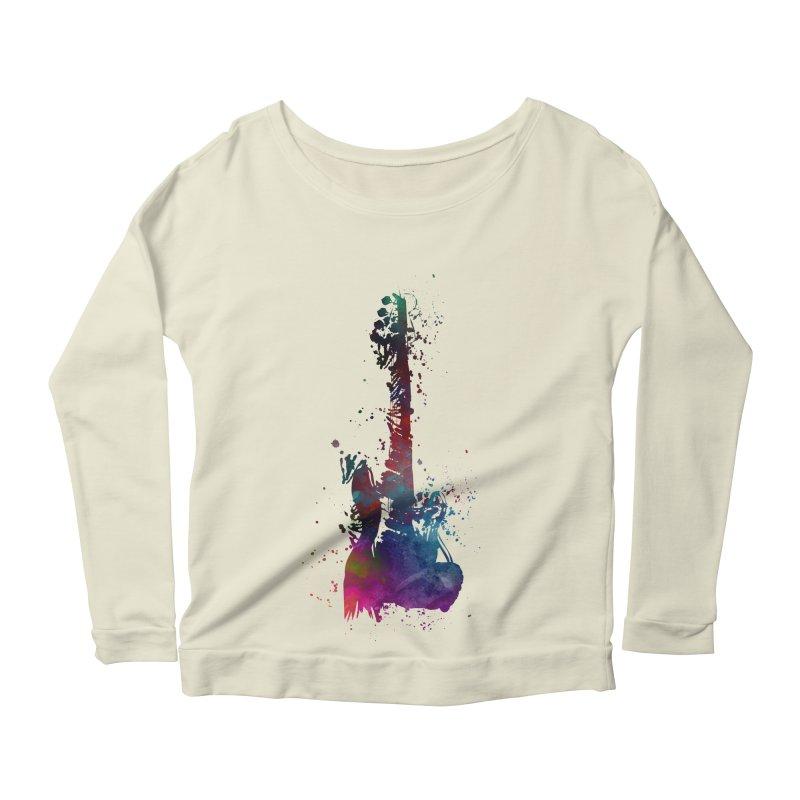 Guitar art Women's Scoop Neck Longsleeve T-Shirt by jbjart Artist Shop