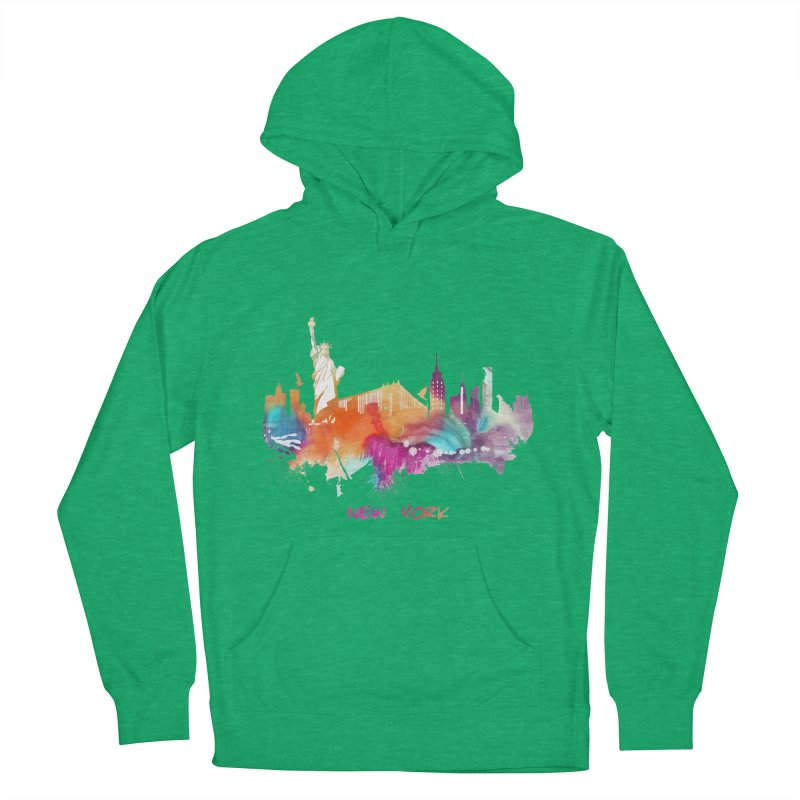 New York City skyline Men's French Terry Pullover Hoody by jbjart Artist Shop