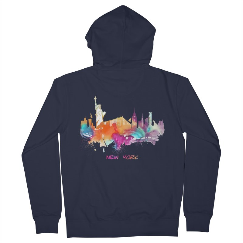 New York City skyline Men's French Terry Zip-Up Hoody by jbjart Artist Shop