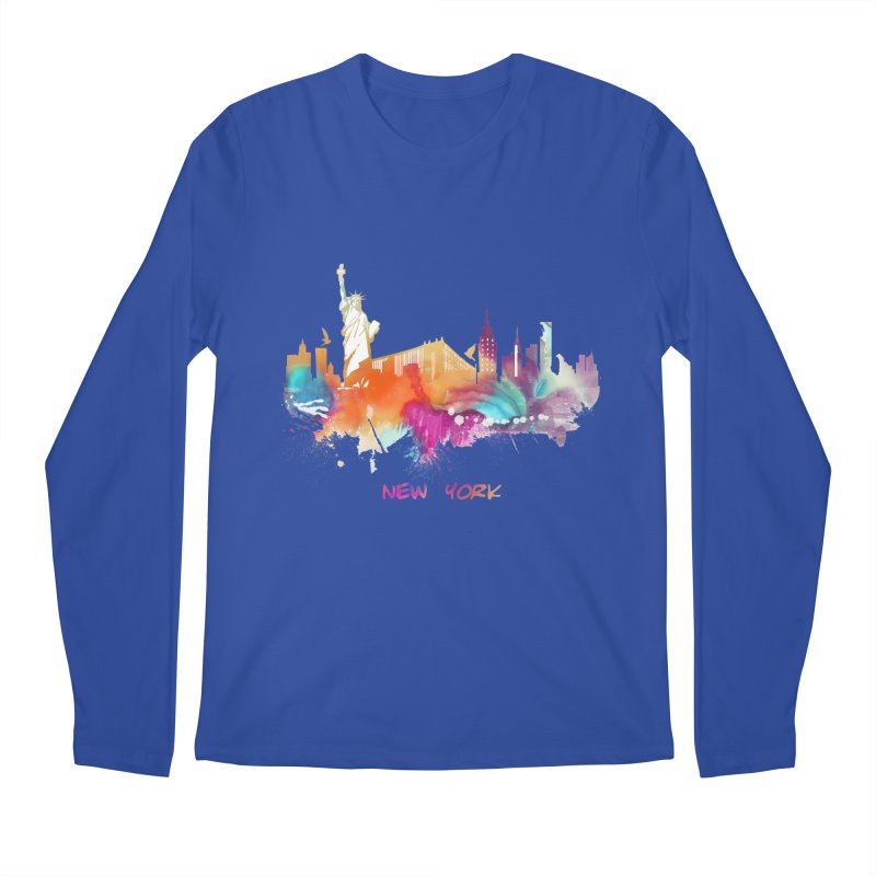 New York City skyline Men's Regular Longsleeve T-Shirt by jbjart Artist Shop