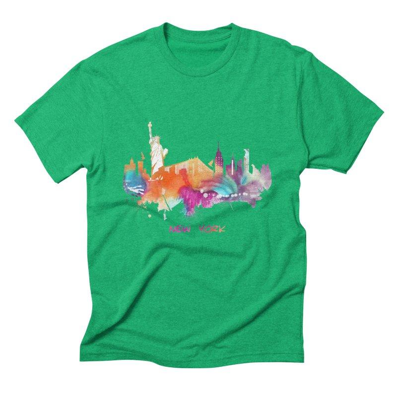 New York City skyline Men's Triblend T-Shirt by jbjart Artist Shop
