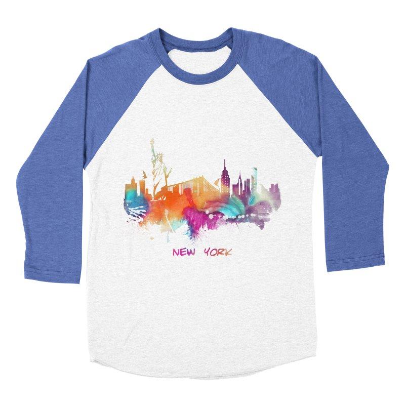 New York City skyline Women's Baseball Triblend Longsleeve T-Shirt by jbjart Artist Shop