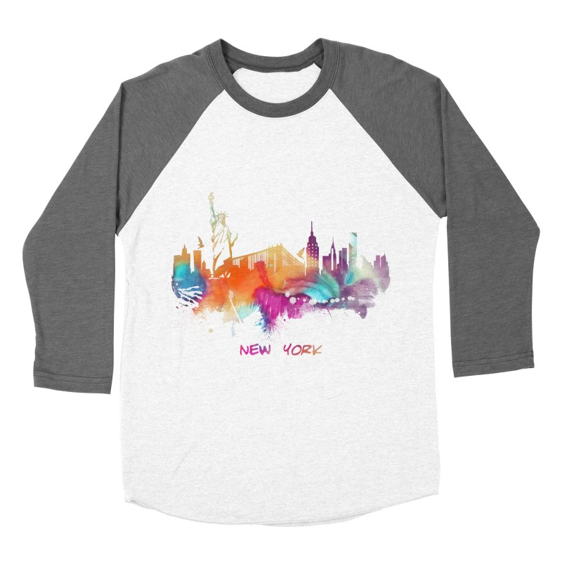 New York City skyline Women's Baseball Triblend Longsleeve T-Shirt by jbjart Artist Shop