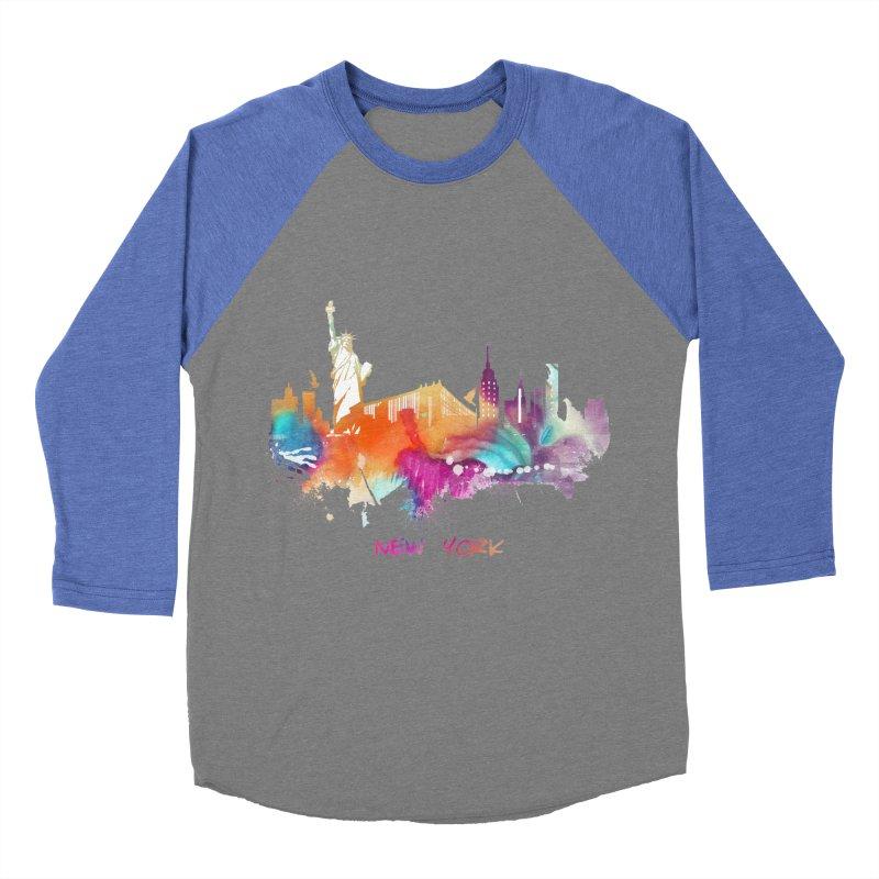 New York City skyline Men's Baseball Triblend Longsleeve T-Shirt by jbjart Artist Shop