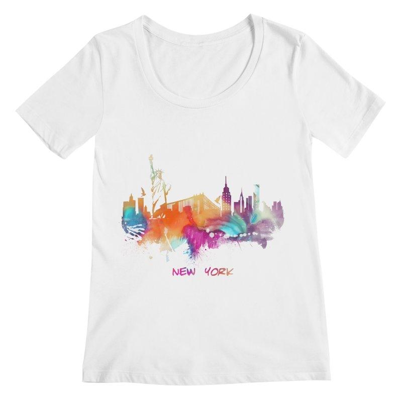 New York City skyline Women's Regular Scoop Neck by jbjart Artist Shop