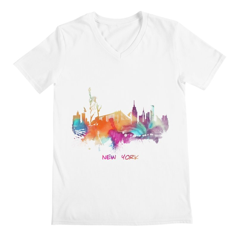 New York City skyline Men's V-Neck by jbjart Artist Shop