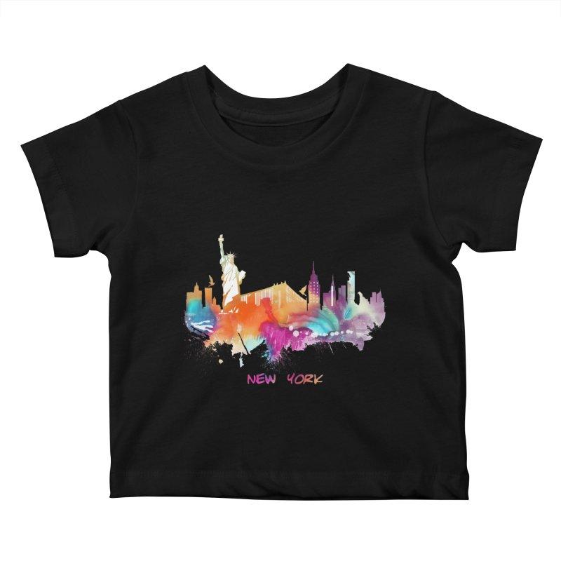 New York City skyline Kids Baby T-Shirt by jbjart Artist Shop