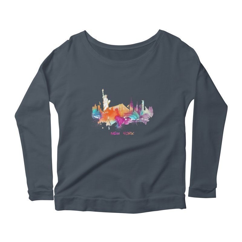 New York City skyline Women's Scoop Neck Longsleeve T-Shirt by jbjart Artist Shop
