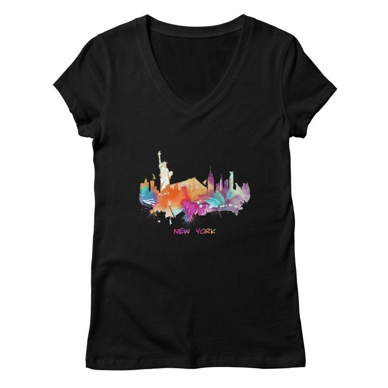 New York City skyline Women's V-Neck by jbjart Artist Shop