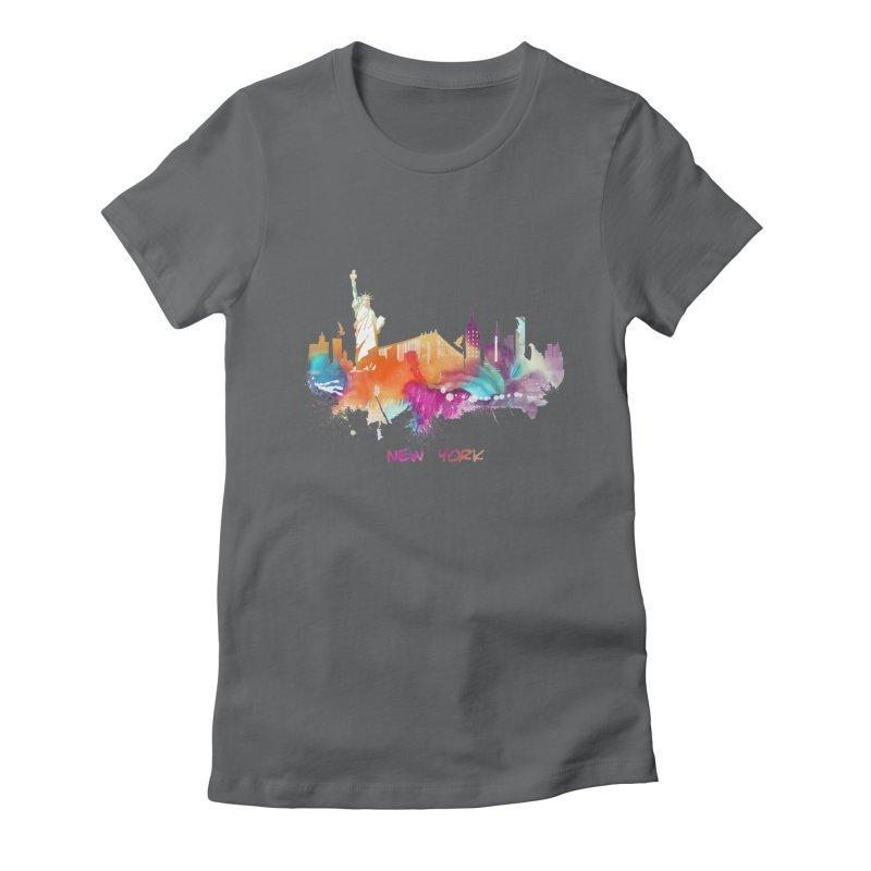 New York City skyline Women's Fitted T-Shirt by jbjart Artist Shop