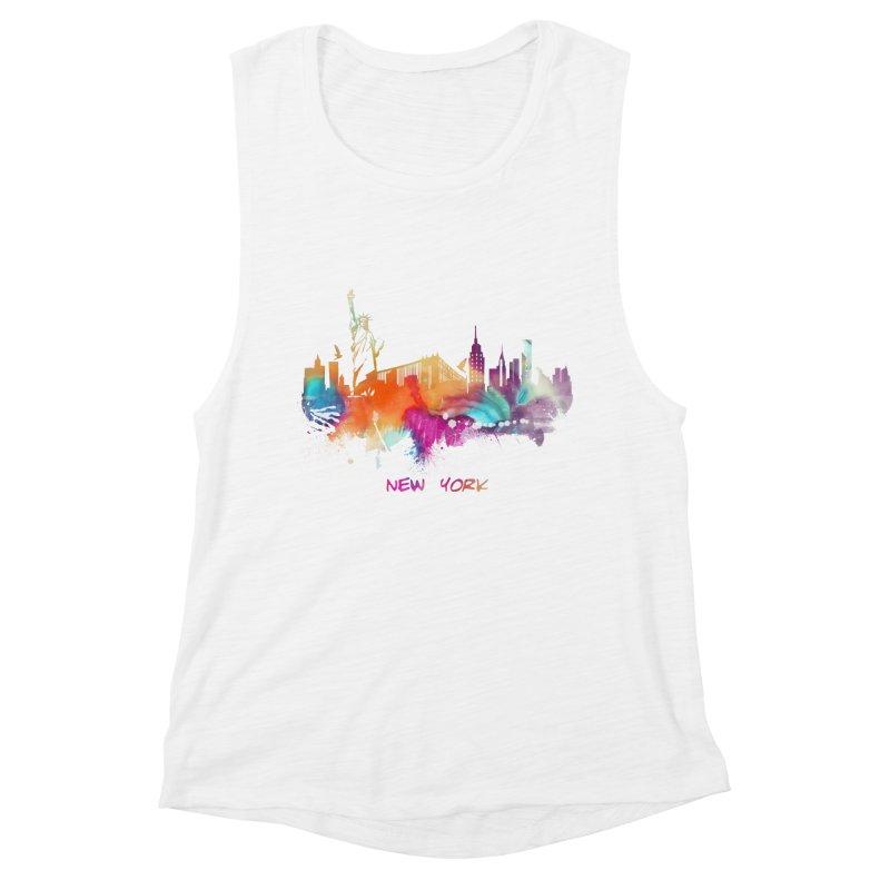 New York City skyline Women's Muscle Tank by jbjart Artist Shop