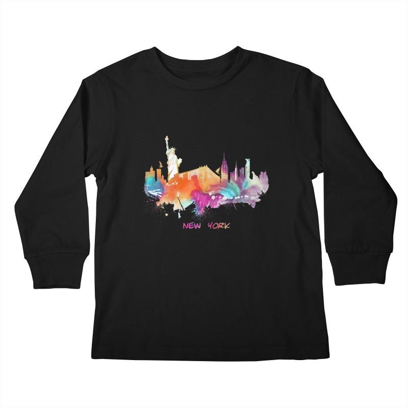 New York City skyline Kids Longsleeve T-Shirt by jbjart Artist Shop