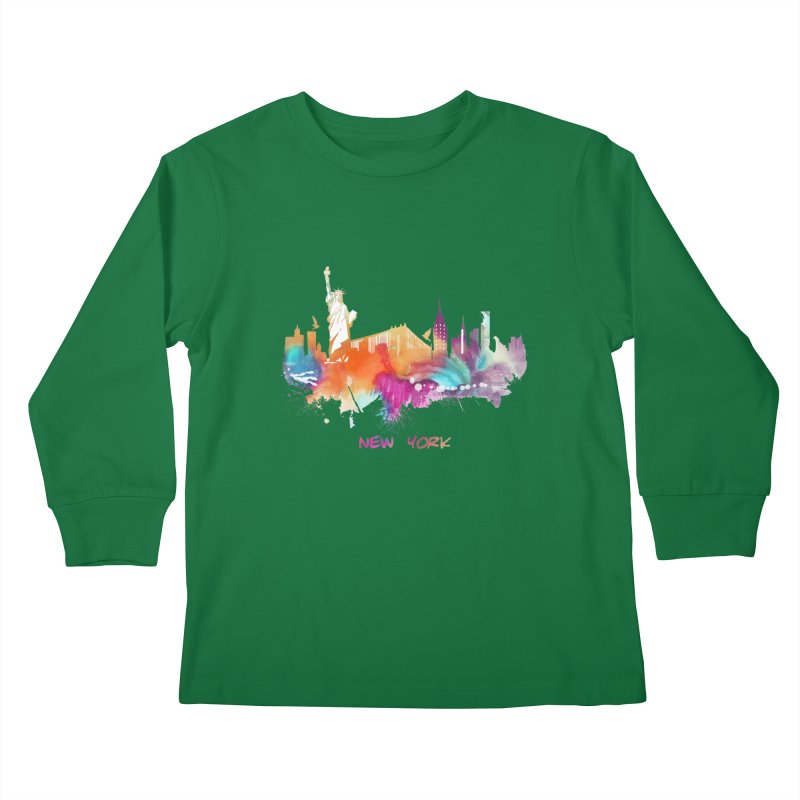 New York City skyline Kids Longsleeve T-Shirt by jbjart Artist Shop