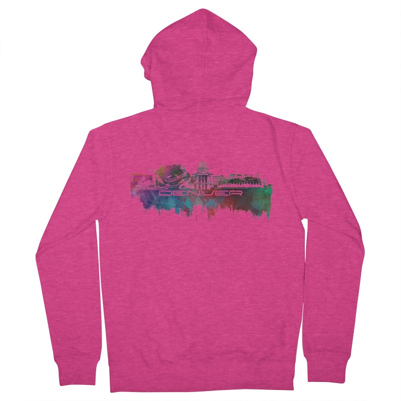 Denver skyline Women's French Terry Zip-Up Hoody by jbjart Artist Shop