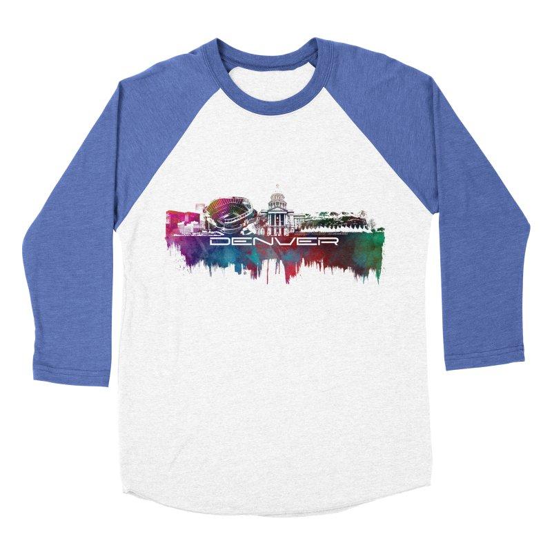 Denver skyline Men's Baseball Triblend Longsleeve T-Shirt by jbjart Artist Shop