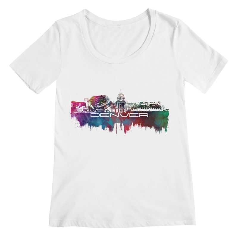 Denver skyline Women's Regular Scoop Neck by jbjart Artist Shop