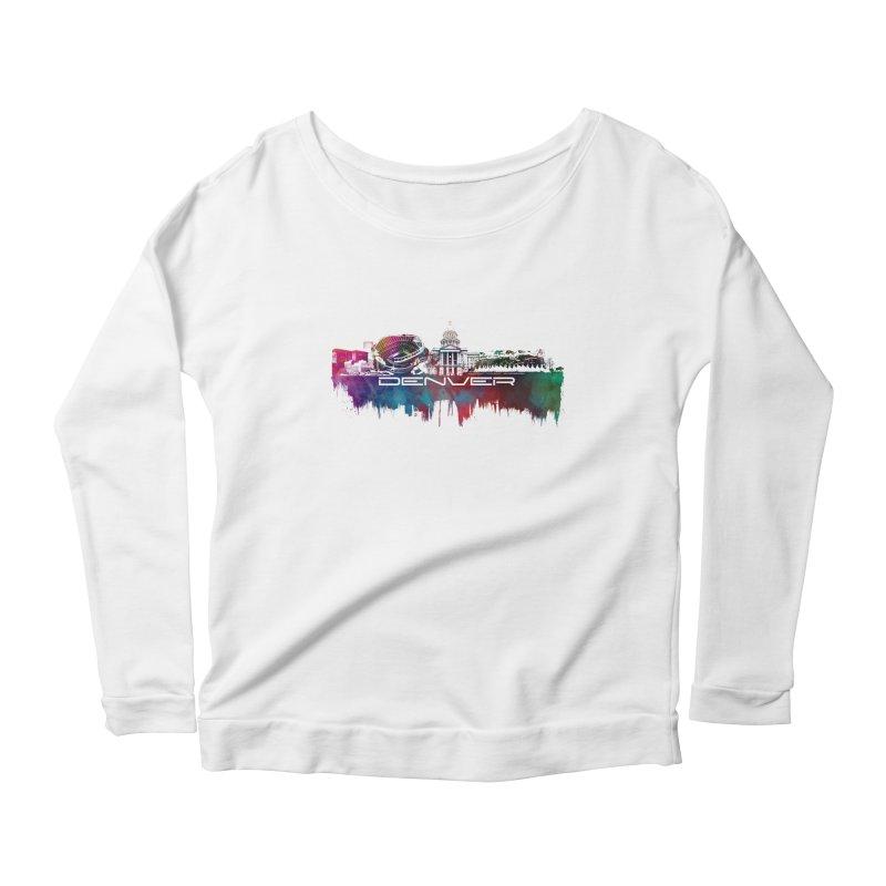 Denver skyline Women's Scoop Neck Longsleeve T-Shirt by jbjart Artist Shop