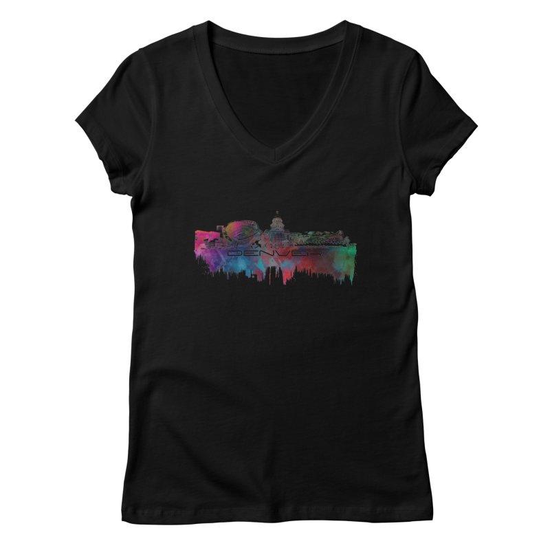 Denver skyline Women's Regular V-Neck by jbjart Artist Shop
